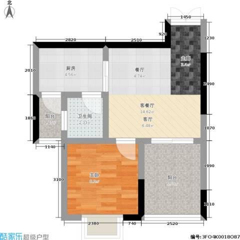 紫晶丽苑1室1厅1卫1厨45.00㎡户型图