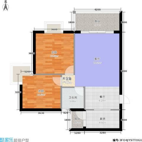 遵大蓝湖丽都2室0厅1卫1厨75.00㎡户型图