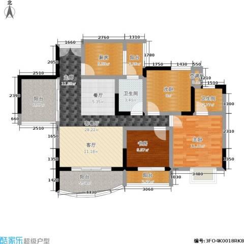 紫晶丽苑3室1厅2卫1厨97.00㎡户型图