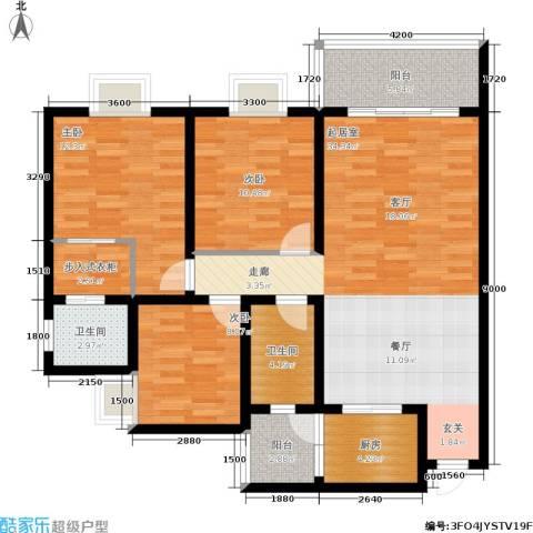 遵大蓝湖丽都3室0厅2卫1厨116.00㎡户型图