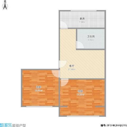 玉桥南里2室1厅1卫1厨84.00㎡户型图
