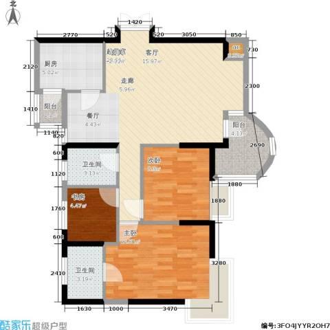 昌龙城市花园3室0厅2卫1厨83.00㎡户型图