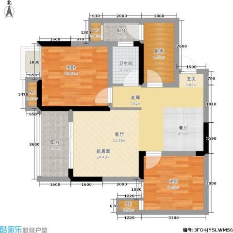 科艺花漾年2室0厅1卫1厨74.00㎡户型图