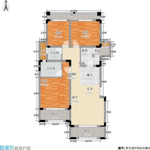 奇峰云邸3室0厅2卫1厨95.64㎡户型图