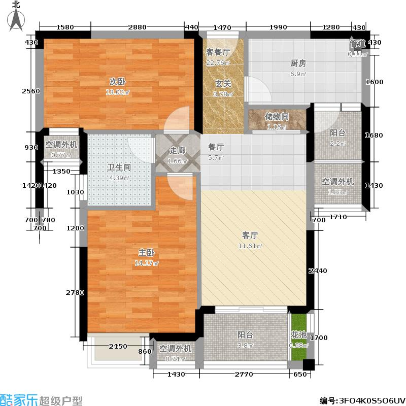 汇锦城83.74㎡三期B1a户型2室2厅