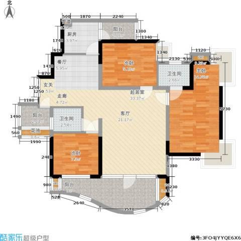 华宇江南枫庭3室0厅2卫1厨106.00㎡户型图