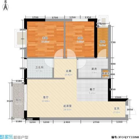 青青雅舍2室0厅1卫1厨85.00㎡户型图