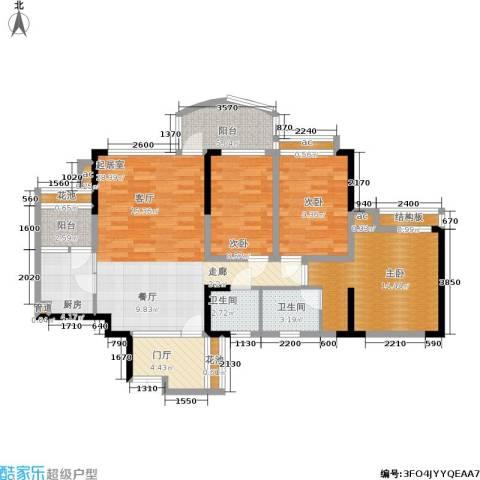 华宇江南枫庭3室0厅2卫1厨105.00㎡户型图