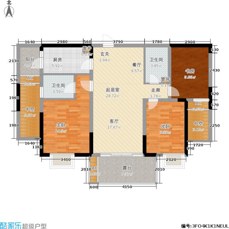 青枫墅园112.00㎡8号楼中间套E1户型3室2厅