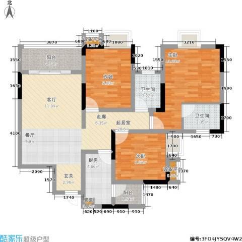 廊桥水岸3室0厅2卫1厨102.00㎡户型图