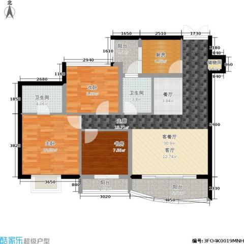 紫晶丽苑3室1厅2卫1厨94.00㎡户型图