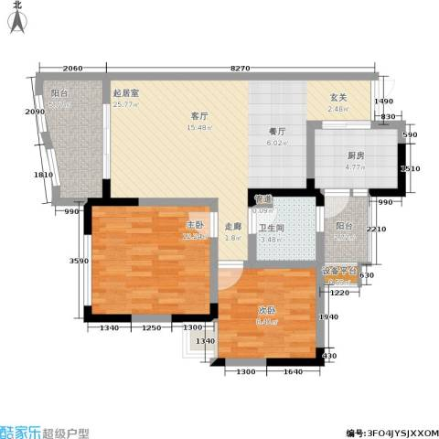 上海城三期天域2室0厅1卫1厨69.00㎡户型图