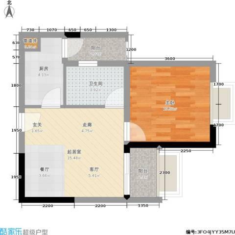 青青雅舍1室0厅1卫1厨57.00㎡户型图