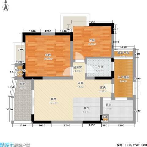 上海城三期天域2室0厅1卫1厨71.00㎡户型图
