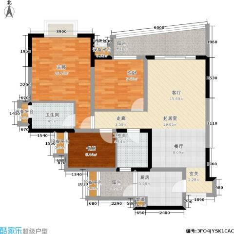 上海城三期天域3室0厅2卫1厨94.00㎡户型图