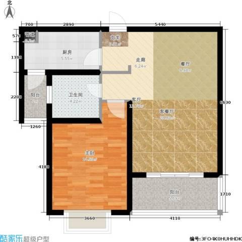 明中龙祥家园1室1厅1卫1厨88.00㎡户型图