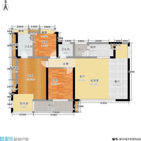 九地北岸明珠3室0厅2卫1厨110.40㎡户型图