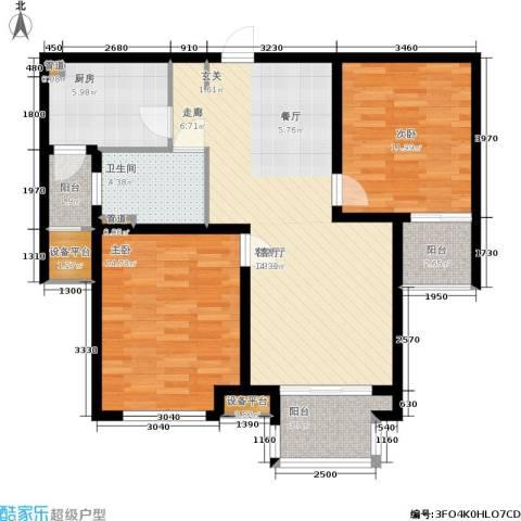 绿地公园壹品2室1厅1卫1厨88.00㎡户型图