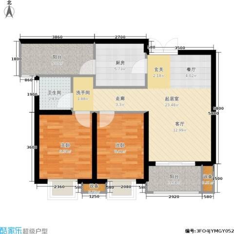 利君未来城2室0厅1卫1厨81.00㎡户型图