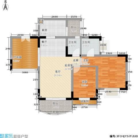 天骄年华2室0厅2卫1厨86.00㎡户型图