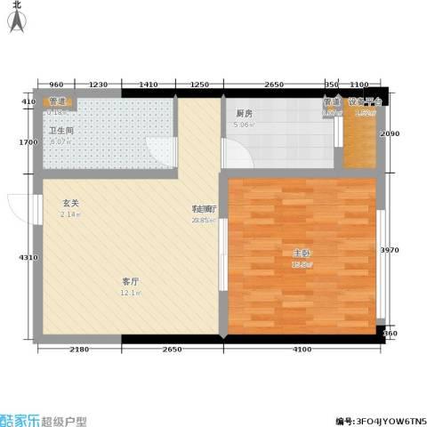 东城家园1室1厅1卫1厨57.00㎡户型图