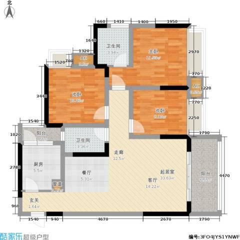 聚慧雅苑3室0厅2卫1厨127.00㎡户型图