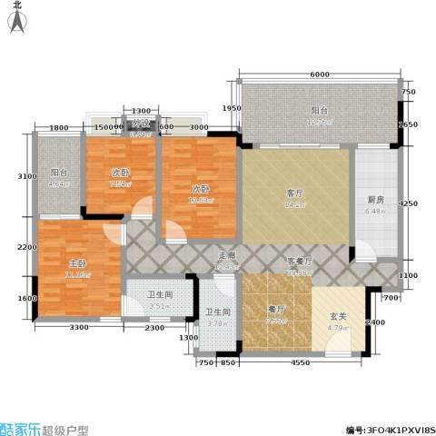 香草山二期3室1厅2卫1厨113.32㎡户型图