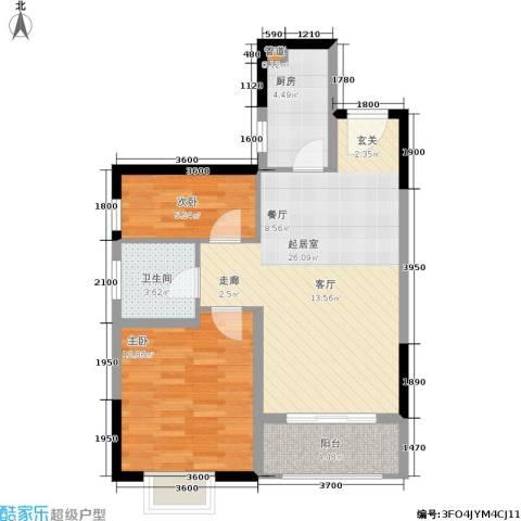 昆明时光2室0厅1卫1厨91.00㎡户型图