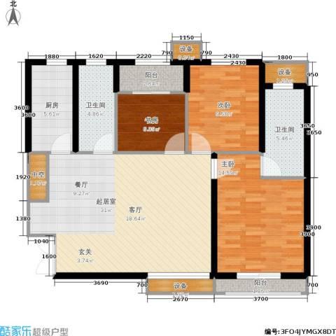 利君未来城3室0厅2卫1厨114.00㎡户型图