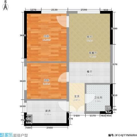 龙湖水晶郦城一组团2室1厅1卫1厨74.00㎡户型图