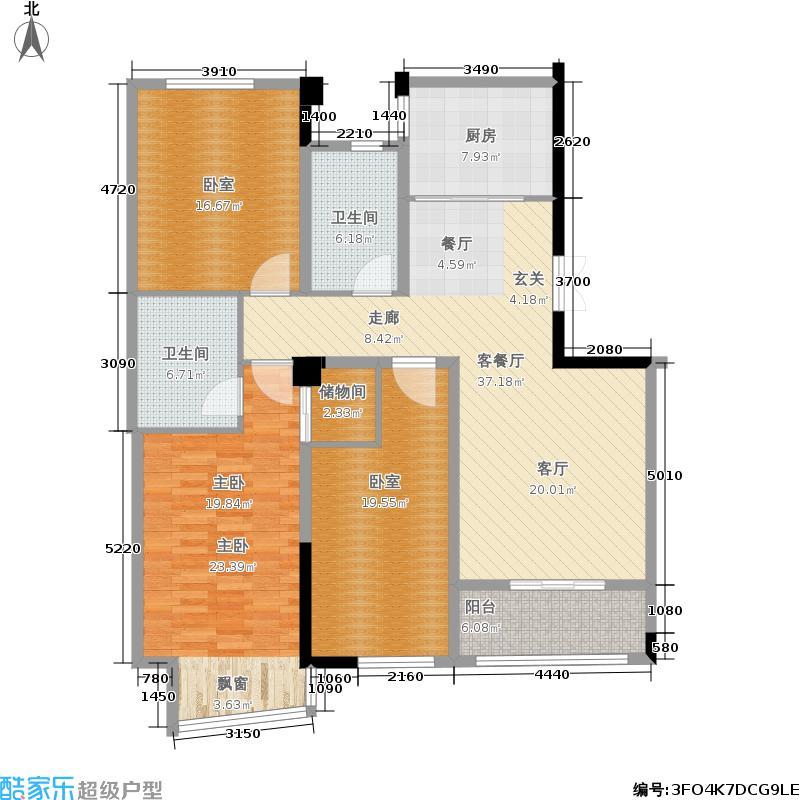 置地广场137.00㎡D1 137平米三房户型3室2厅2卫