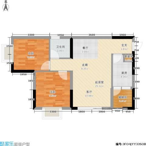 青青雅舍2室0厅1卫1厨77.00㎡户型图
