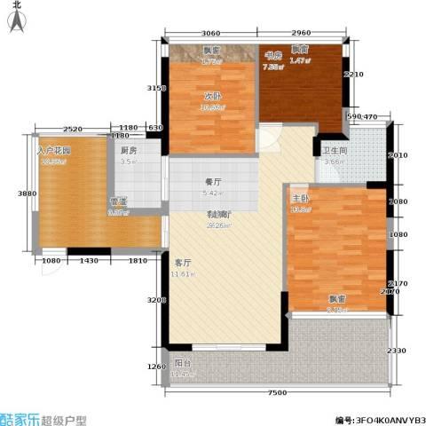 碧水龙庭二期3室1厅1卫1厨98.74㎡户型图