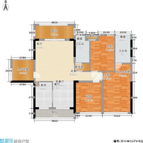 冠亚国际星城3室1厅2卫1厨122.00㎡户型图