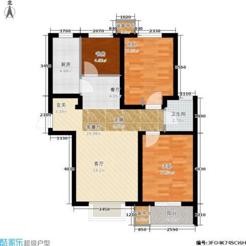 香溪雅地3室1厅1卫1厨90.00㎡户型图