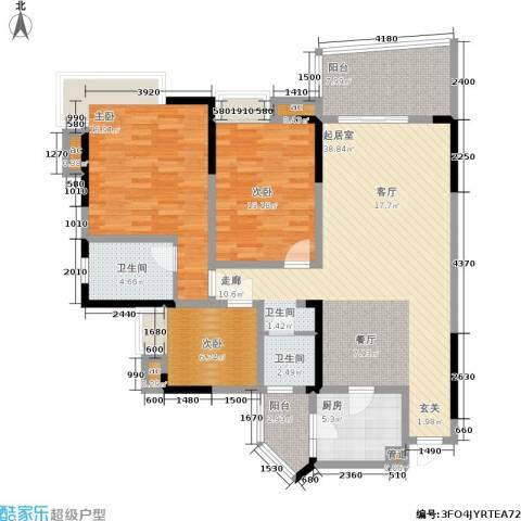 金辉融侨半岛云满庭C区3室0厅2卫1厨107.00㎡户型图