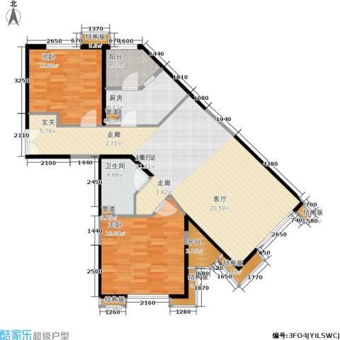 中粮大道2室0厅1卫1厨116.00㎡户型图