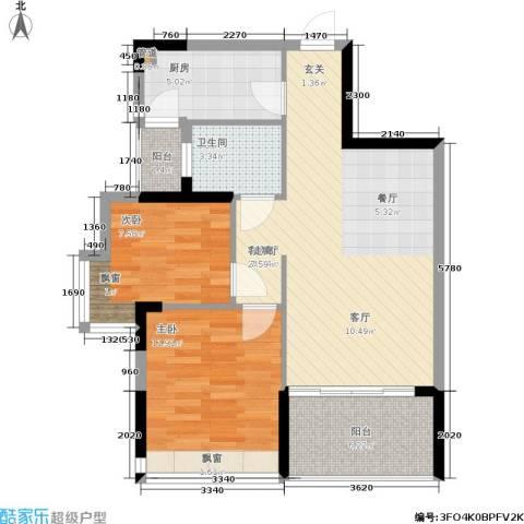 碧水龙庭二期2室1厅1卫1厨86.00㎡户型图