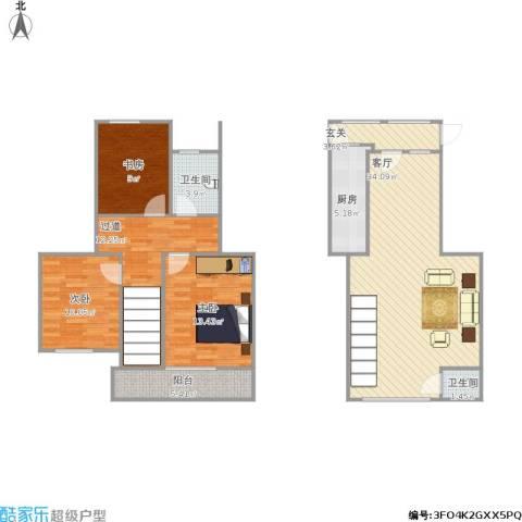 新世纪绿树湾3室1厅2卫1厨133.00㎡户型图