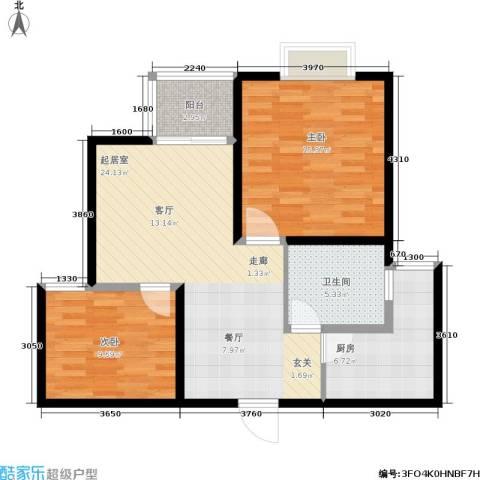 新梅淞南苑2室0厅1卫1厨73.00㎡户型图