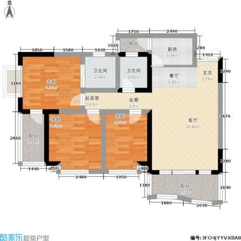 万友康年国际公寓3室0厅2卫1厨80.00㎡户型图