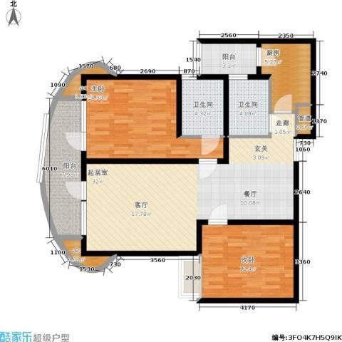 爱家星河国际2室0厅2卫1厨100.00㎡户型图