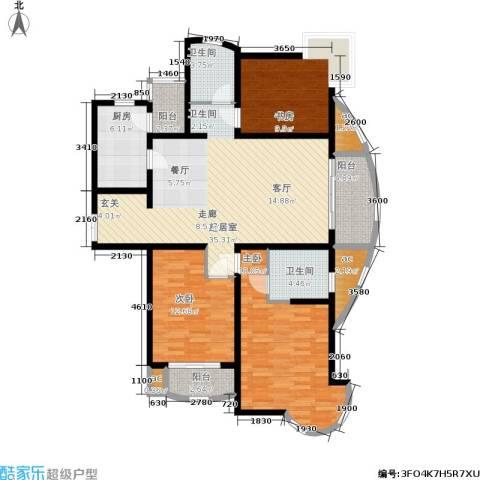 爱家星河国际3室0厅2卫1厨120.00㎡户型图