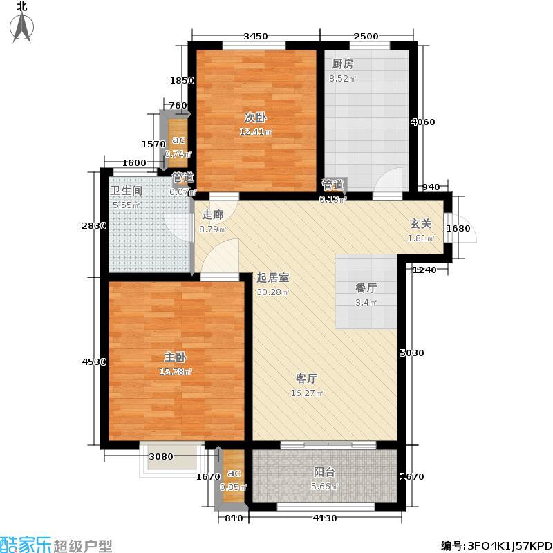 君悦花苑93.00㎡高层5、6号楼标准层B3户型2室2厅