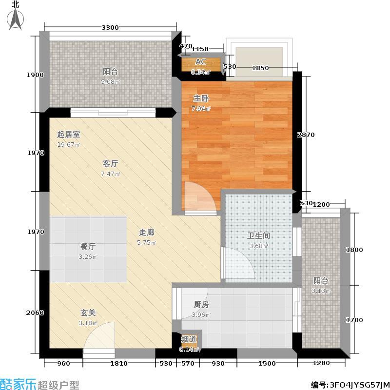 升伟中环广场45.07㎡一期4/6号楼标准层1/8号房户型
