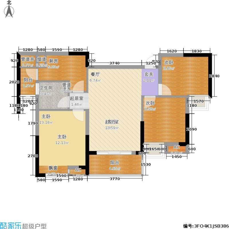 中粮云涛名苑89.00㎡A1户型3室2厅