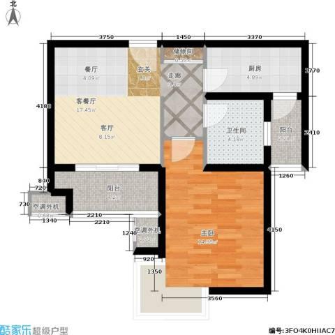 东方听潮豪园1室1厅1卫1厨57.00㎡户型图