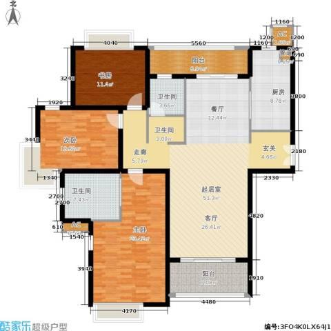 远中风华园3室0厅2卫1厨151.00㎡户型图