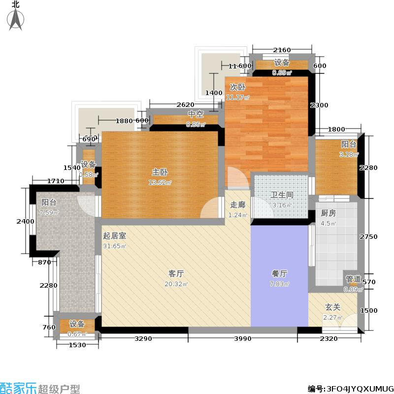 约克郡汀兰80.00㎡二期8号楼标准层B1-2户型