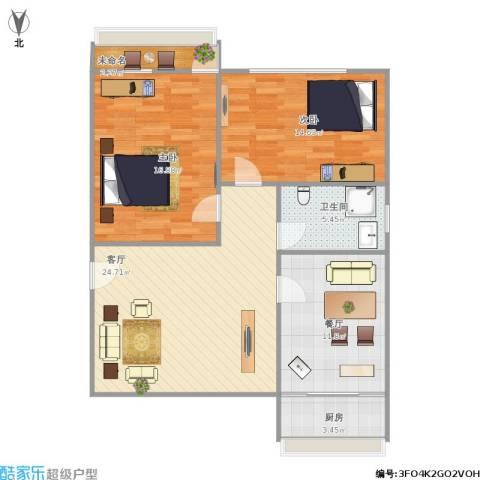 和平路山航宿舍2室2厅1卫1厨106.00㎡户型图